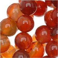 Natural Carnelian Gemstone 6mm Round Beads / 15.5 Inch Strand