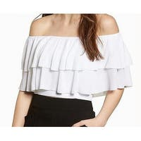 Leith Off-Shoulder Ruffled Women's Blouse Knit Top