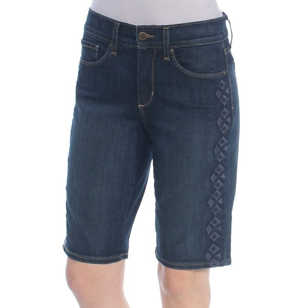 NYDJ Womens Navy Embroidered Short Size: 0