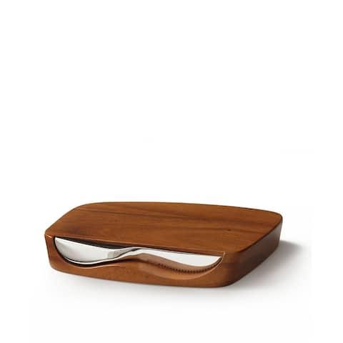 Nambe Blend Bar Board with Knife - Board: 9 L x 7.25 W x 1 D