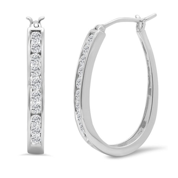 Amanda Rose Collection AGS Certified 1ct tw Diamond Hoop Earrings in 10K White Gold