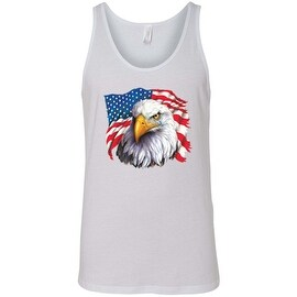 Men's Tank Top USA Flag Pride Bald Eagle w/ Tear Proud American Stars & Stripes