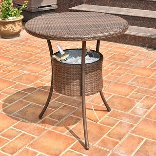 Costway 32'' Cooler Table Outdoor Patio Rattan Ice Cool Bar Party Deck Pool Bucket - as pic