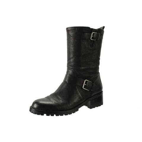 Cole Haan Womens Hemlock Motorcycle Boots Leather Mid-Calf