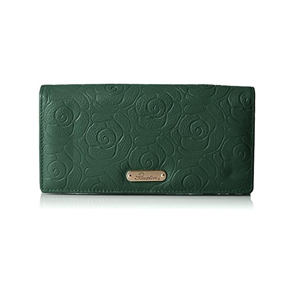 Buxton Womens Rose Garden Clutch Wallet Embossed Leather - o/s