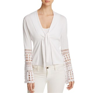Kobi Halperin Womens Marcie Cardigan Sweater Crochet Trim Flare Sleeves