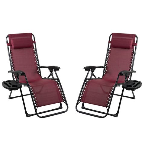 Patio Premier 2PK Gravity Chairs with Big Cupholder - Scarlet