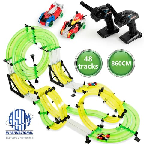 Gymax Autoflier Kids RC Rail Car Race Track Set 28.5ft 3D Track Speed Booster Playset - as pic
