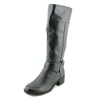 Style & Co Vedaa Women Round Toe Leather Black Mid Calf Boot