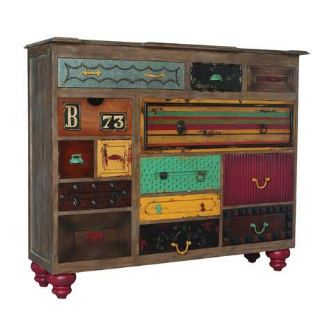 "64"" Brown Weathered Mahogany Mosaic Treasures Chest"