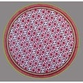 "Handmade 100% Cotton Floral Tablecloth 90"" Round Red Pink - Thumbnail 0"