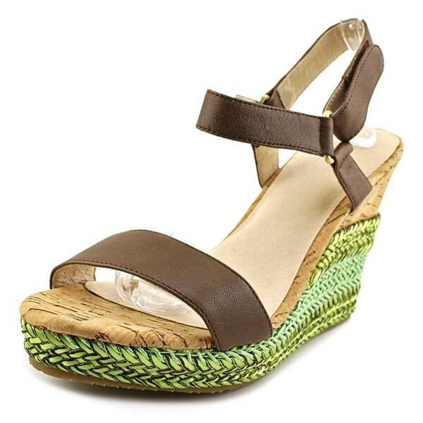 Pika Carini Women Open Toe Leather Brown Wedge Sandal
