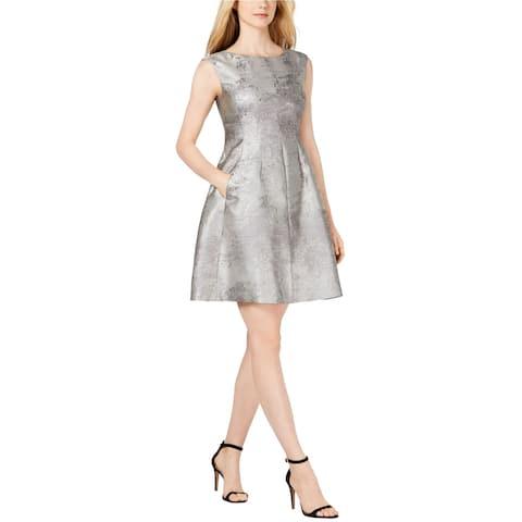 Anne Klein Womens Jacquard Fit & Flare Dress, Metallic, 14