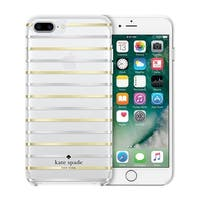 Kate Spade New York 'Surprise Stripe' Protective Hard-shell Case for iPhone 8 Plus & iPhone 7 Plus - Clear/Gold Foil/Silver Foil