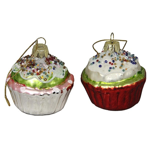 """2 Cupcake Heaven Beaded and Frosted Glass Cupcake Christmas Ornaments 2.25"""" - multi"""