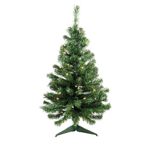 "3' x 19"" Pre-Lit Niagara Pine Medium Artificial Christmas Tree - Clear Lights"
