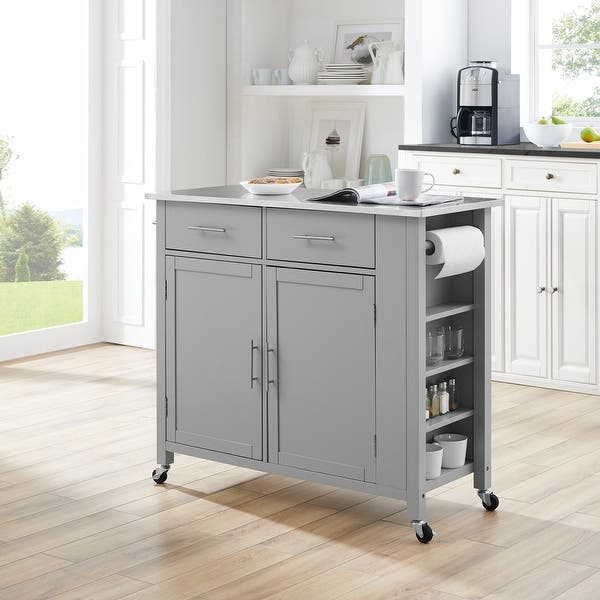 Savannah Stainless Steel Top Full Size Kitchen Island Cart 37 H X 42 W X 18 25 D On Sale Overstock 31104184