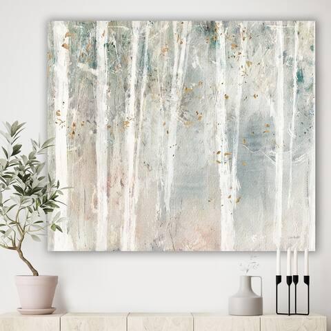 Designart 'A Woodland Walk into the Forest VII' Modern Farmhouse Canvas Art - Grey
