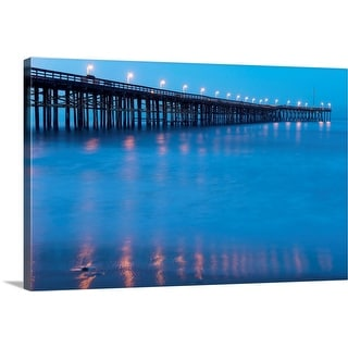"""Pier at night, Ventura, Ventura County, California"" Canvas Wall Art"