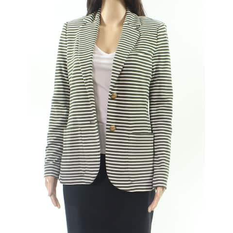 Lauren by Ralph Lauren Green Womens Size XL Striped 2-Button Blazer