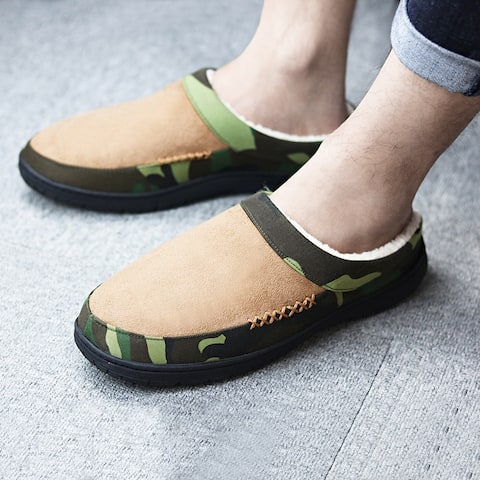 Mens Camouflage Slippers Soft Plush Lined House Slippers