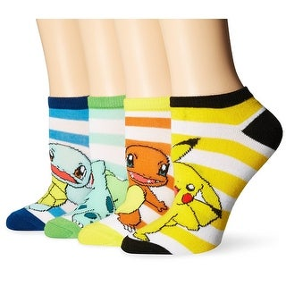 Pokemon 4 Pack Ankle Socks: Pikachu, Squirtle, Charmander, Bulbasaur - Yellow
