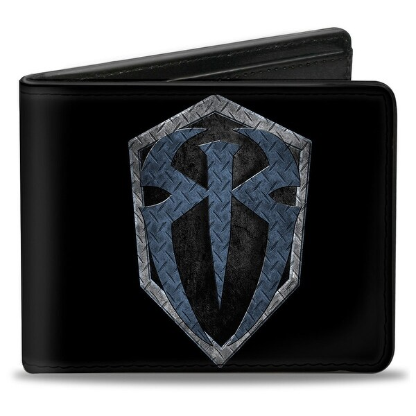 Roman Reigns Icon Diamond Plate Black Grays Blues Bi Fold Wallet - One Size Fits most