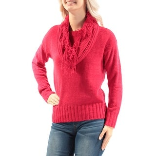 Womens Red Long Sleeve Crew Neck Casual Sweater Size S
