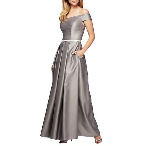 Alex Evenings Women's Off The Shoulder Ballgown, Antique/Silver, 10