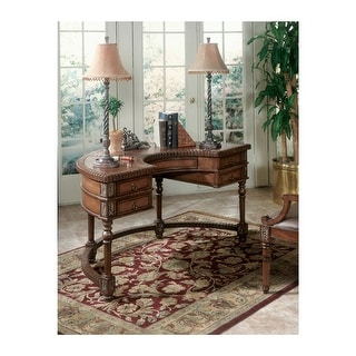 Offex Traditional Demilune Wooden Desk with 5 Drawers in Connoisseurs Finish - Dark Brown