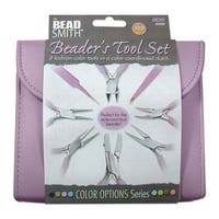 Beadsmith 8 Piece Plier & Tweezer Set Light Orchid Purple Jeweler's Tool Kit With Travel Case