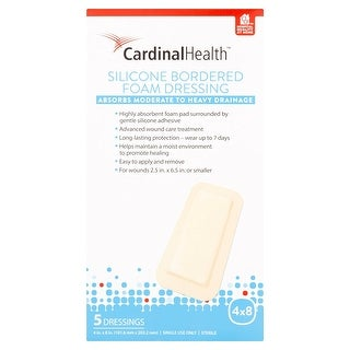 Cardinal Health 4x8 Inch Silicone Bordered Foam Dressing, 15 Count