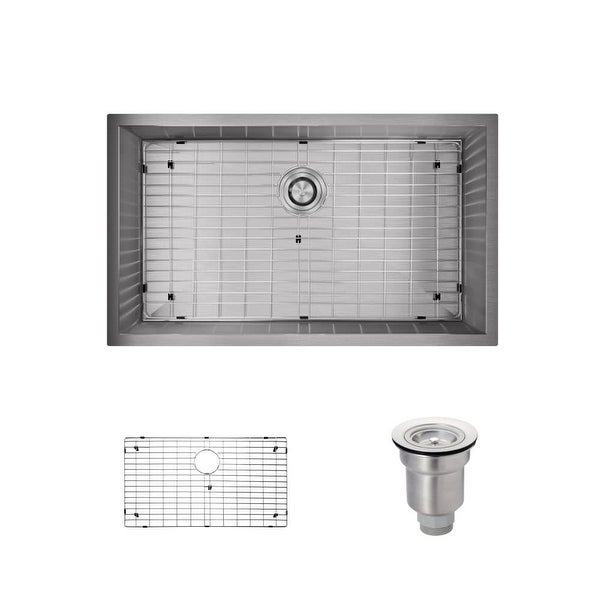 "Rene R1-1026S 32"" Single Basin Stainless Steel Kitchen Sink - Basin Rack and Basket Strainer Included"