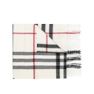 Burberry White Cashmere Giant Check Scarf