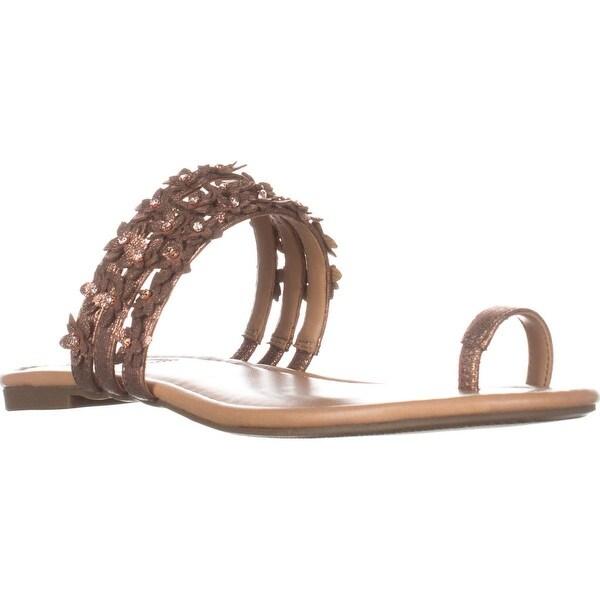 I35 Linaa Flower Strap Slide Sandals, Copper