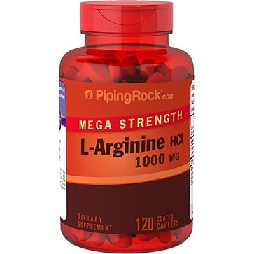 Piping Rock Mega Strength L-Arginine 1000mg 120 Coated Caplets Dietary Supplement - WHITE - 120 cap