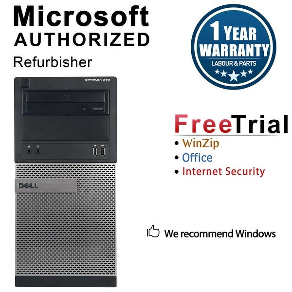 Dell OptiPlex 390 Computer Tower Intel Core I3 2100 3.1G 4GB DDR3 250G Windows 10 Pro 1 Year Warranty (Refurbished) - Black