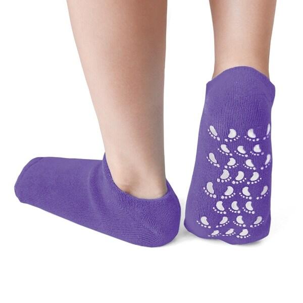 1 Pair Moisturising Exfoliating Spa Treatment Skin Non-slip Gel Socks Purple