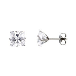 Stainless Steel Earrings Clear Princess Cut Solitaire Cubic Zirconia Mens Ladies