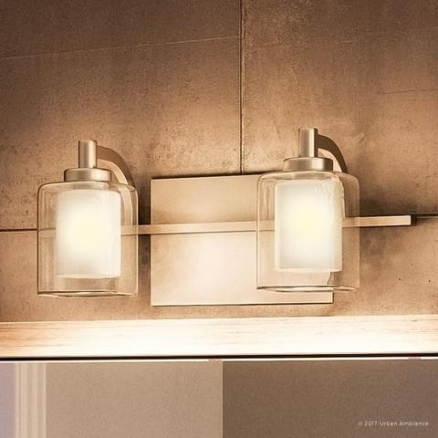 """Luxury Modern 2-light Brushed Nickel Bathroom Vanity Light - 6"""" H, 13"""" W, 6.5"""" Dep"""