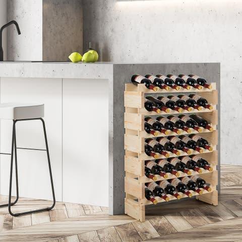 6 Tier Stackable Wooden Wine Rack Modular Wine Display Shelves