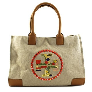 Tory Burch Ella Embroidered Logo Tote Women   Canvas  Tote - Ivory