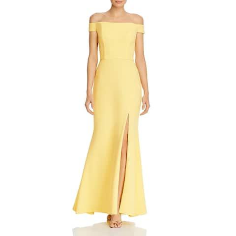 Aqua Womens Evening Dress Off-The-Shoulder Front Slit - Lemon