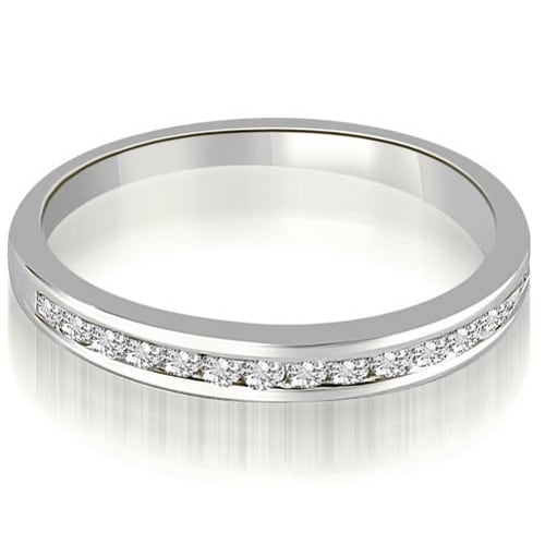 0.35 cttw. 14K White Gold Classic Channel Set Round Cut Diamond Wedding Ring