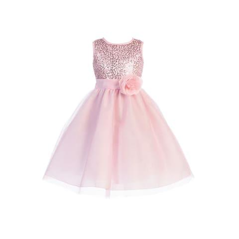 Blossom Girls Pink Sequin Mesh Glitter Tulle Junior Bridesmaid Dress