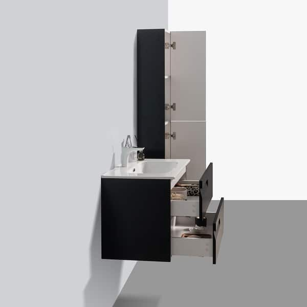 Eviva Joy 28 Blackwood Wall Mount Bathroom Vanity W White Integrated Top Overstock 32822054
