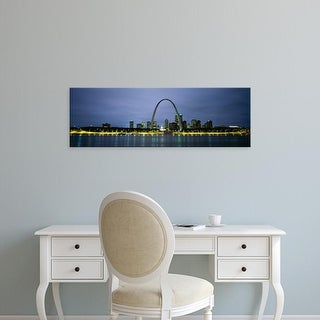 Easy Art Prints Panoramic Images's 'Buildings Lit Up At Dusk, Mississippi River, St. Louis, Missouri, USA' Canvas Art