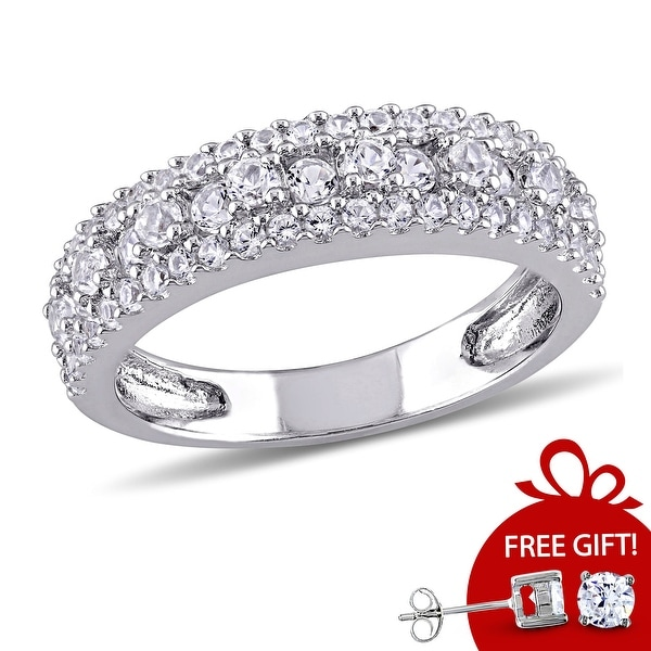 Miadora Sterling Silver Created White Sapphire Stackable Anniversary Wedding Band Ring. Opens flyout.