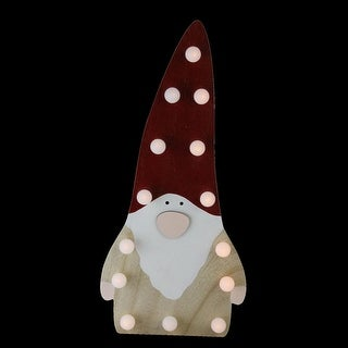 15.75 Battery Operated LED Lighted Wooden Santa Gnome Decorative Figurine