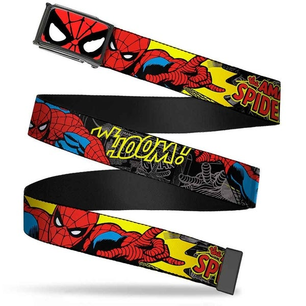 Marvel Comics Spider Man Face Close Up Fcg Chrome Spider Man In Action Web Belt